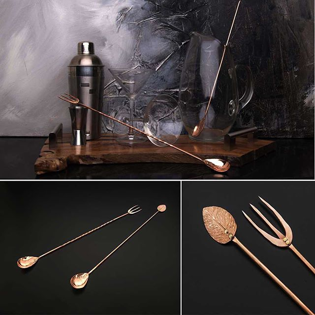 Announcing our Copper Bar Spoon and Mint Leaf Cocktail Stir and Copper Bar Spoon with Trident Fork.  Both items are the result of a collaboration between Mastro Company and artist Ben Caldwell.  Perfect for the dedicated mixologist