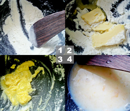 The four basic stages to look for when creating your roux.