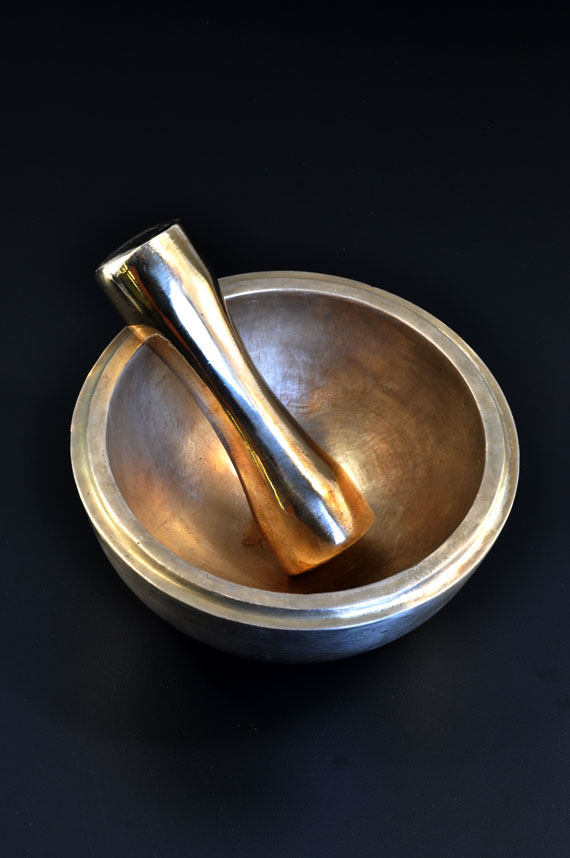 Brushed Austere-First in a series of solid Bronze Mortar and Pestles.