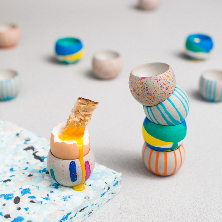 Selection of Egg Cups with Drippy Egg - Blobs, Drippy, Jesmonite, Sprinkles.jpg