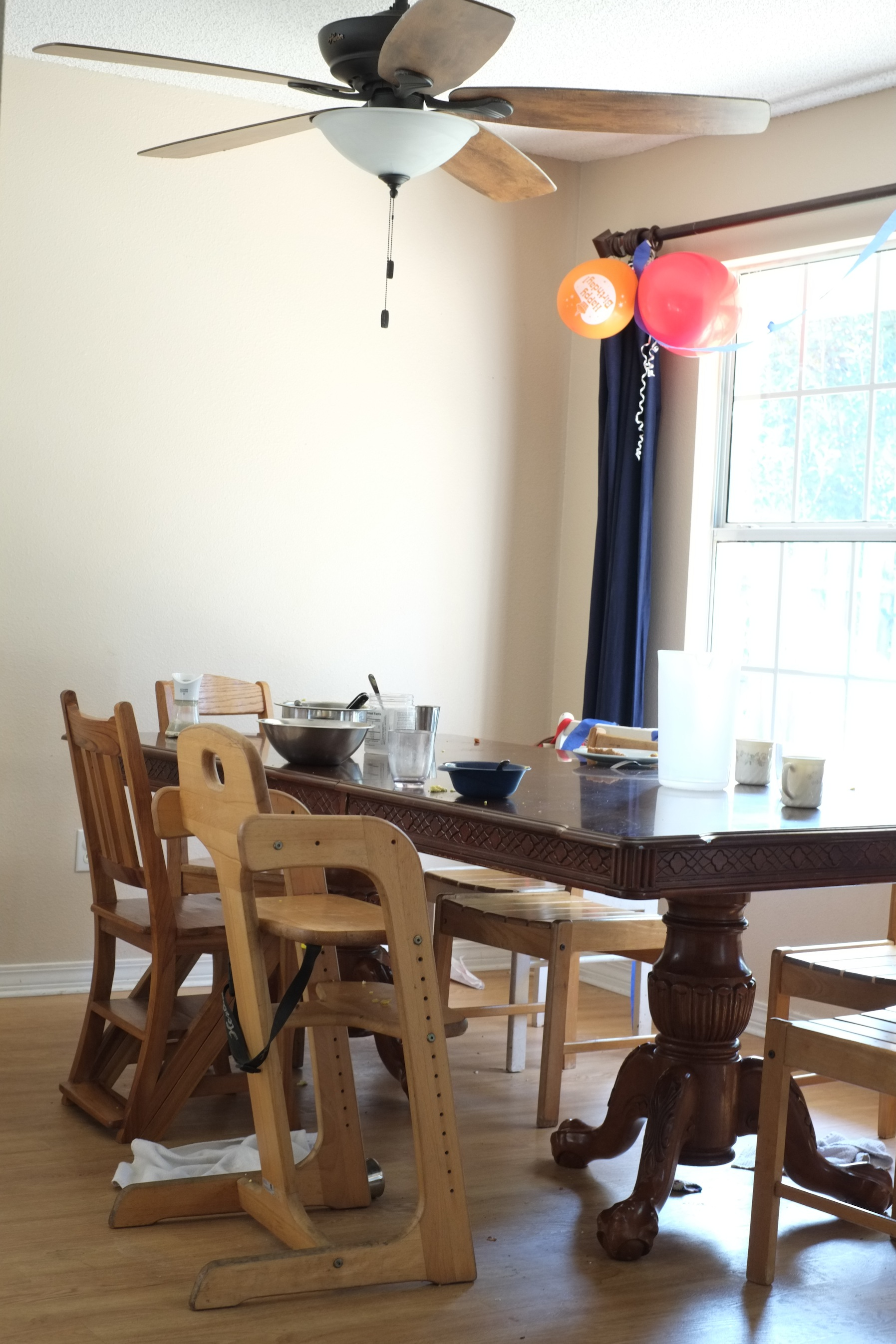 A messy dining table after a wonderful time of fellowship together at home