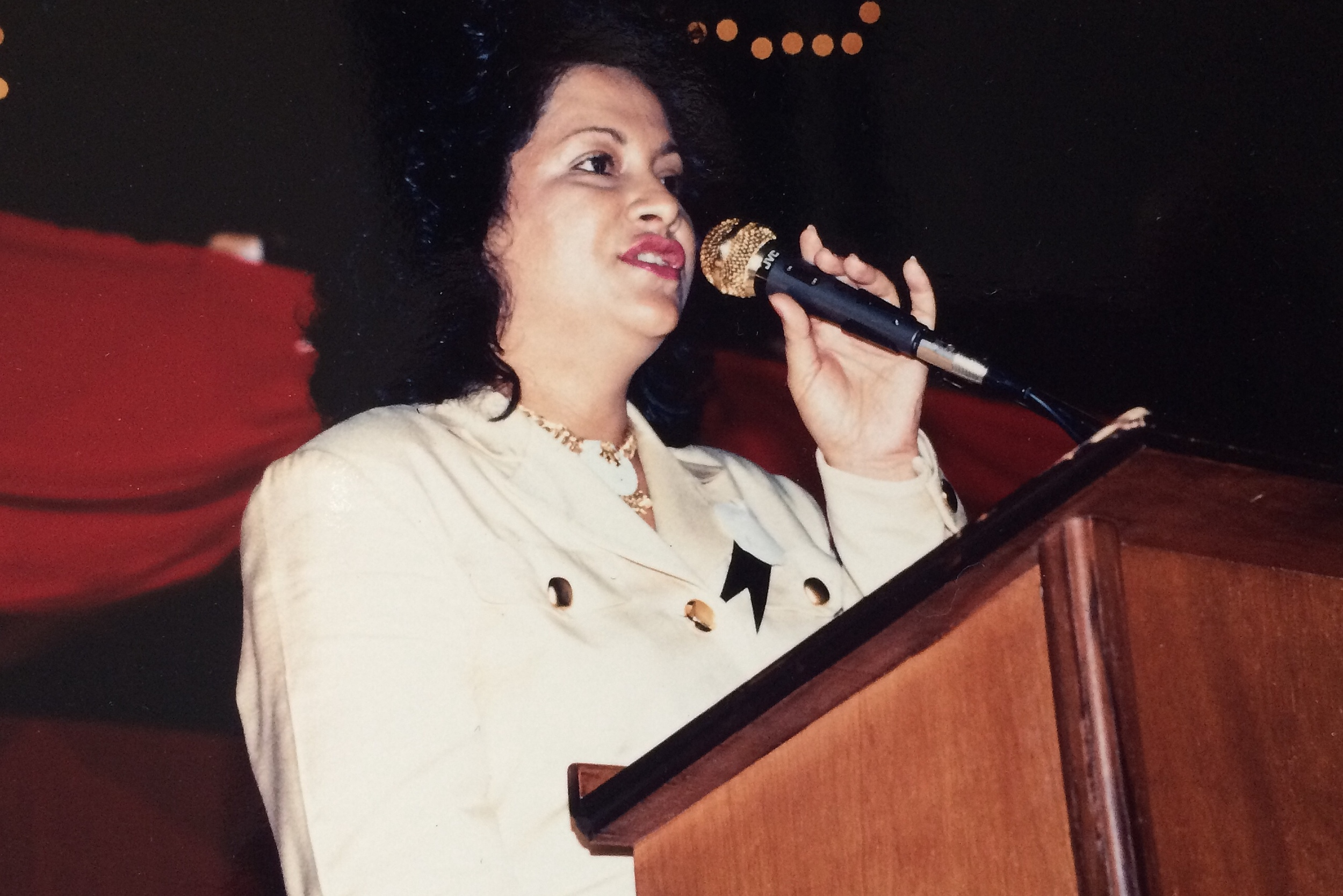 Mom giving one of her many speeches