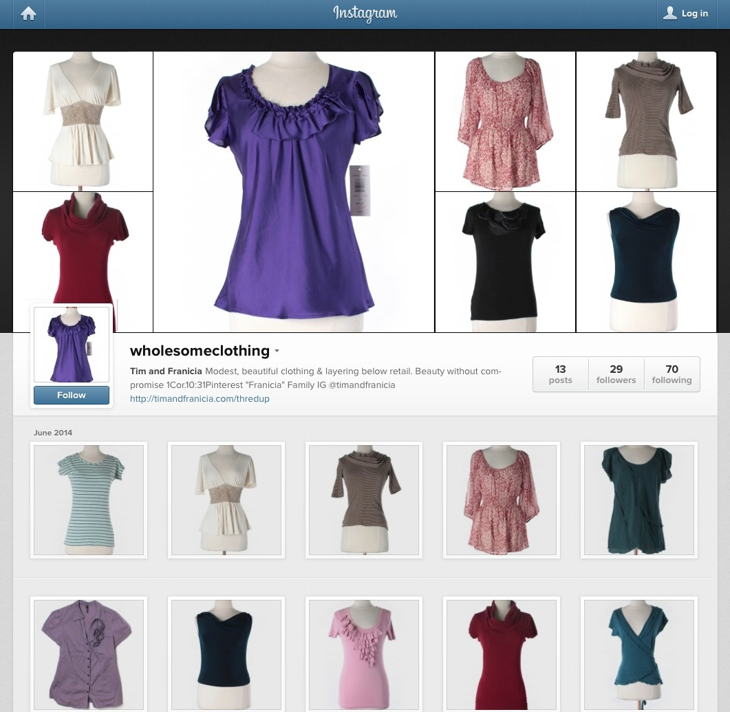 Instagram Account of Wholesome Clothing by Tim & Franicia White ThredUP modest selection