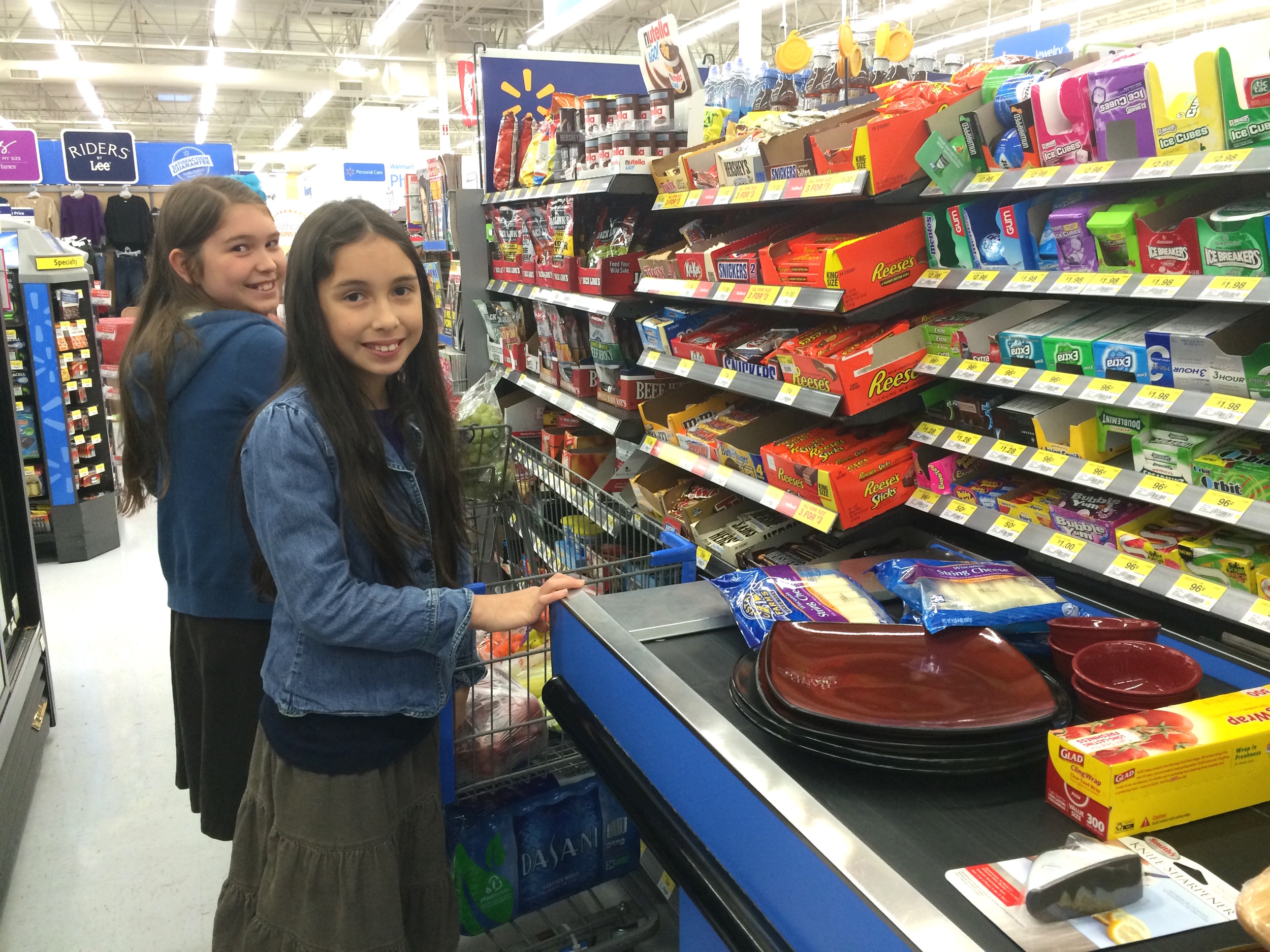 2014 in Bentonville, Arkansas - the girls help me shop for fruit, cheese, and snacks for platters for Ben & Jessa's bridal wedding rooms