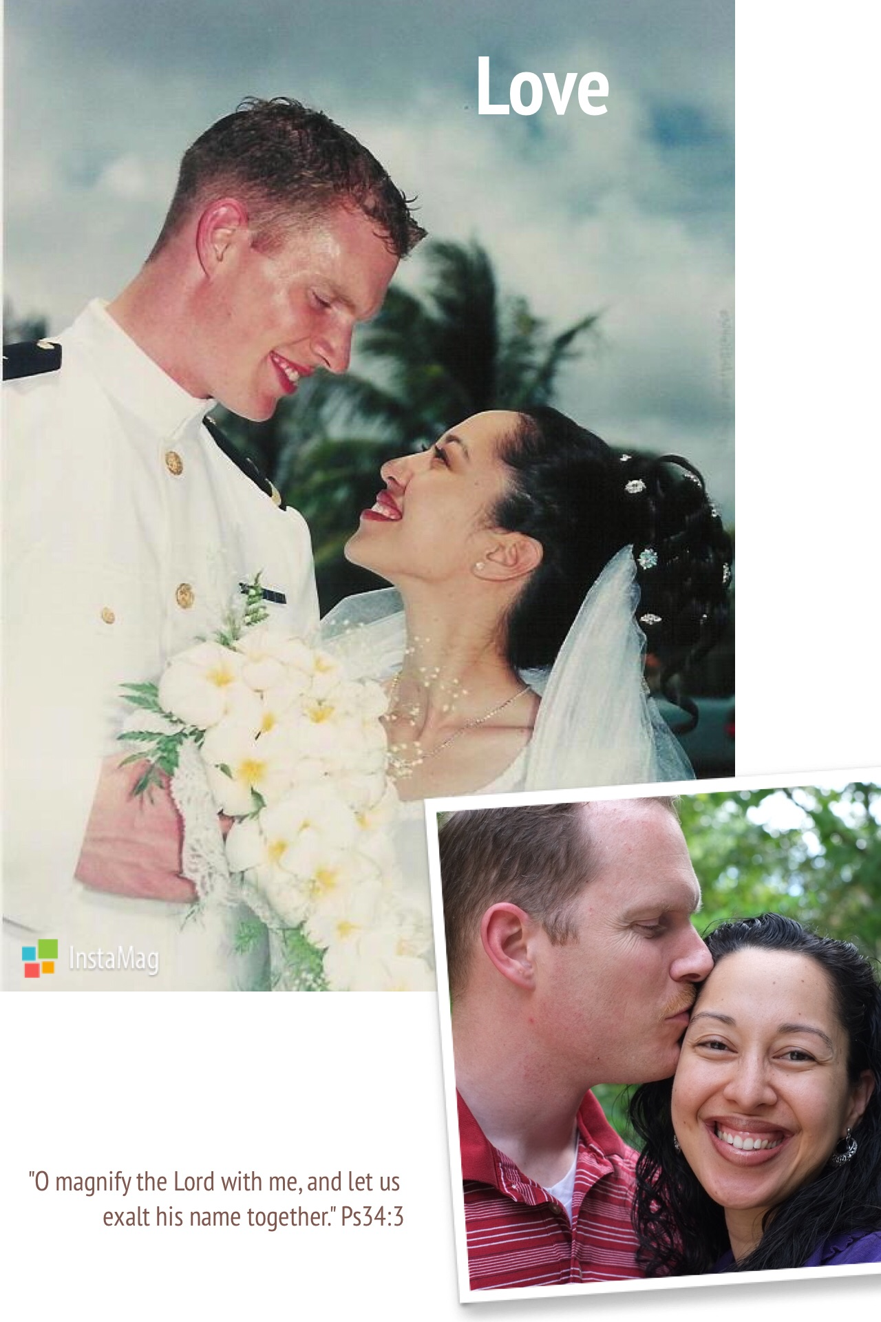 Our wedding day in Saipan and 13 years later. Photography by Saipan Photo Lab and our 10-year-old daughter Pelaiah