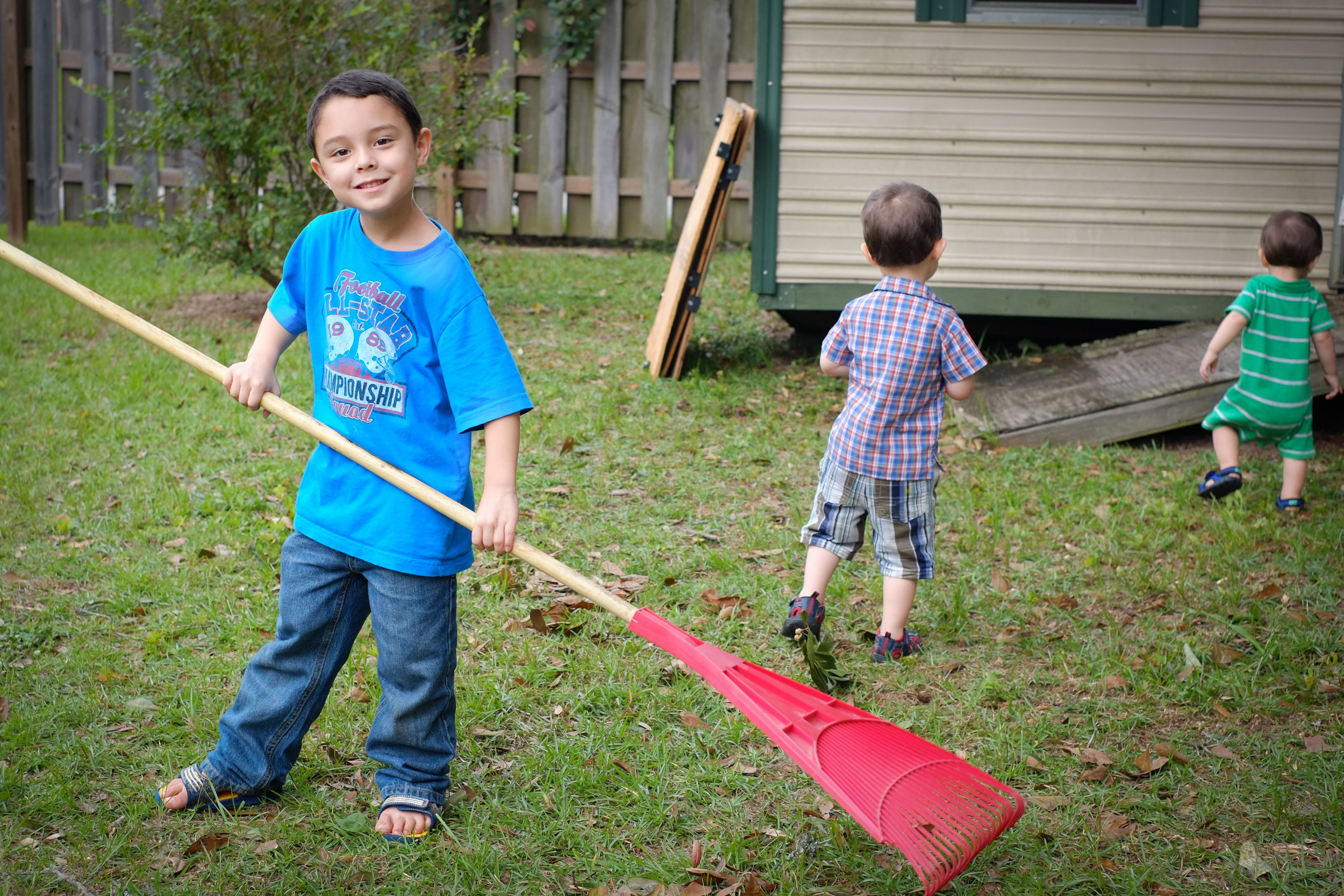 2012 - Abraham volunteered often to rake the leaves and clean up outside with his siblings. Age: 4 almost 5