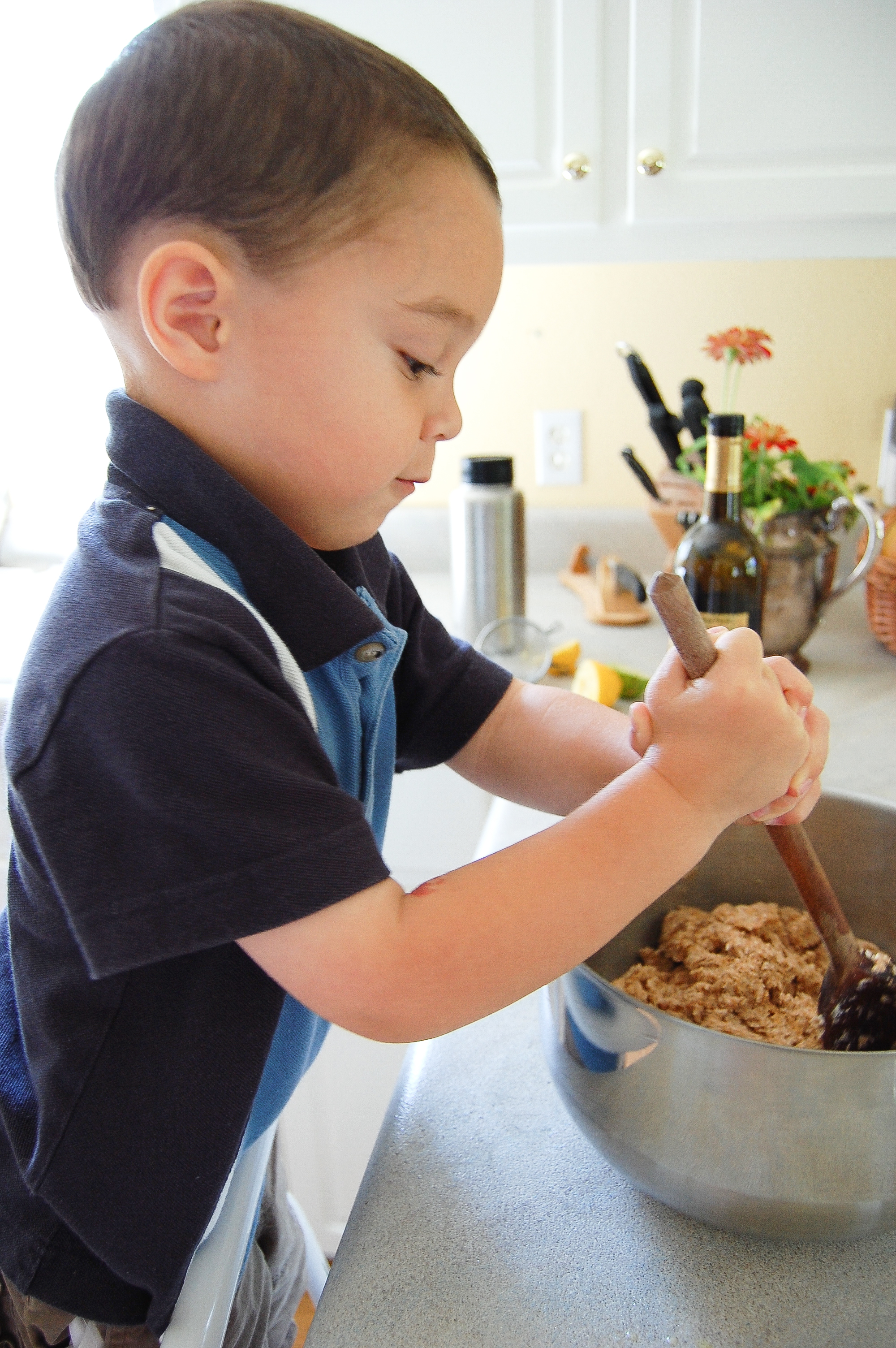 Aug 2010 - Abraham (2 almost 3) helps Mommy make homemade organic dough for all kinds of yummy things to eat