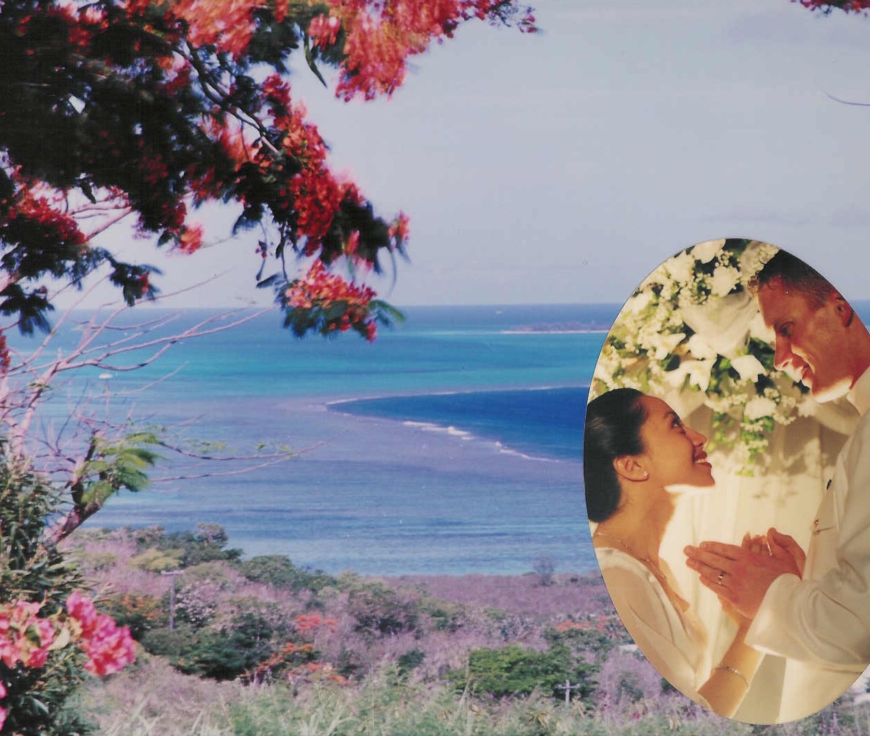 One of our wedding photos. This has Franicia and Tim during their wedding ceremony. The scenery is the island of Saipan.
