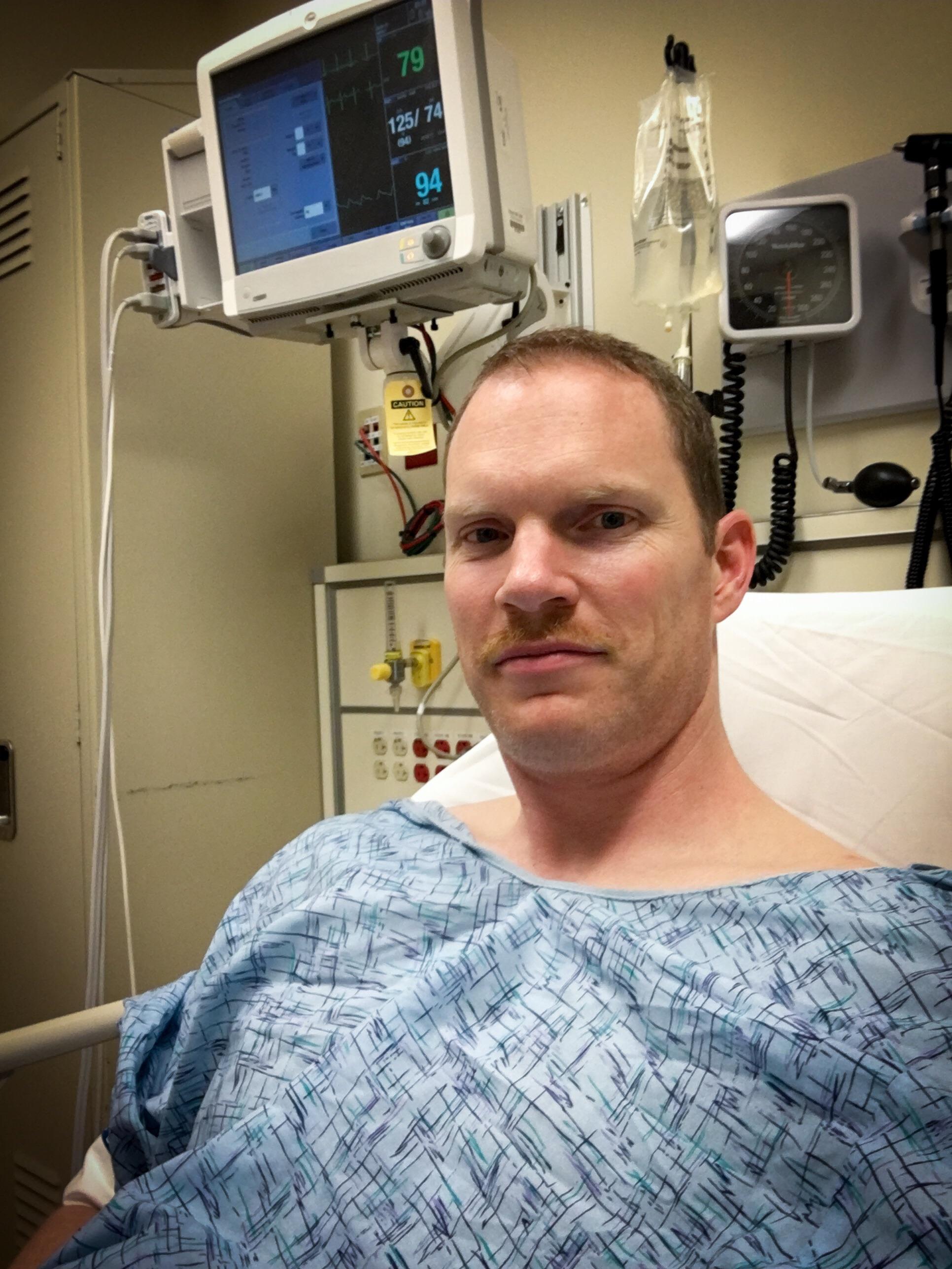 Tim in the emergency room.