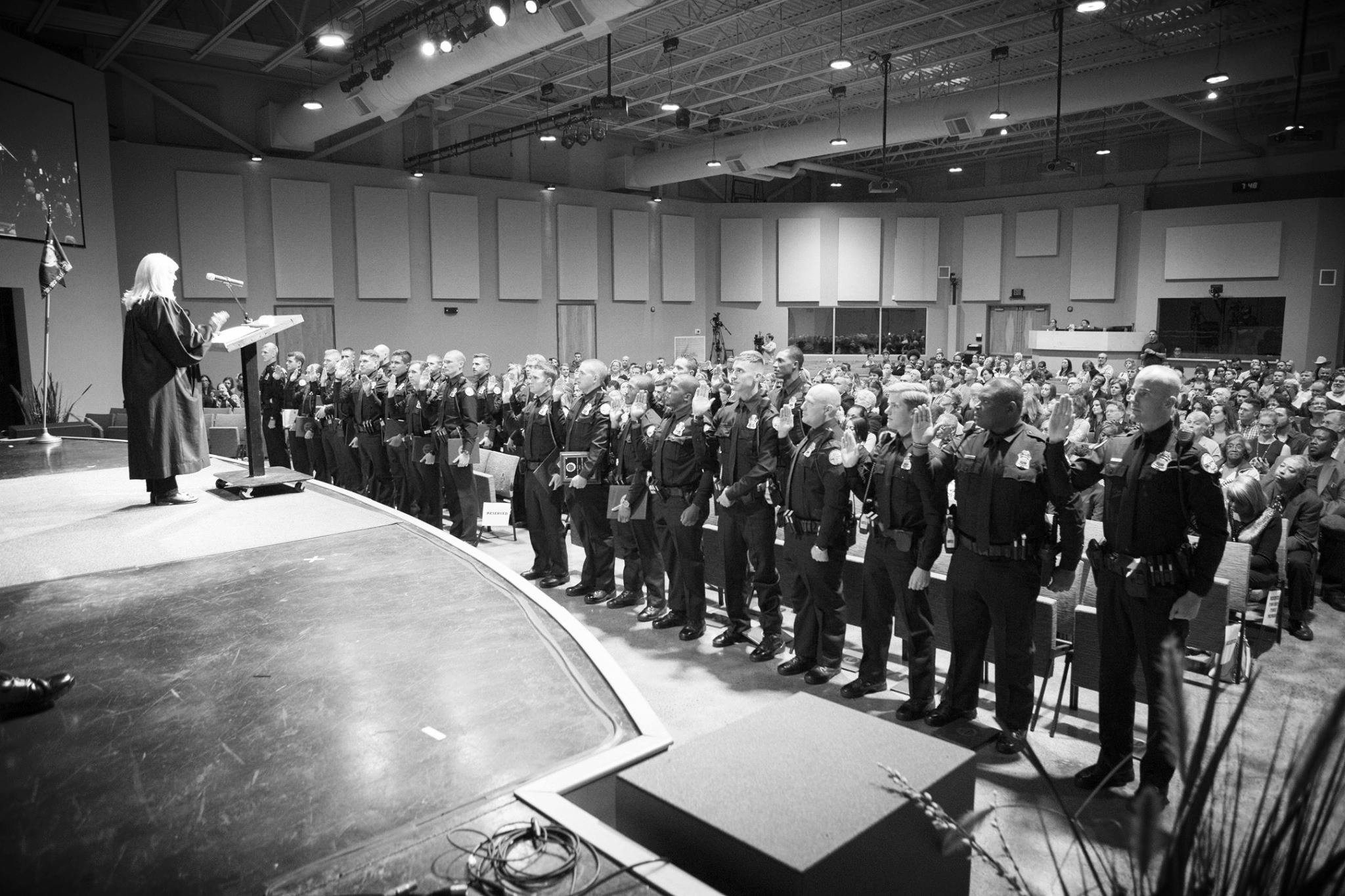 CPD Police Academy Class 2017-1 taking their Oath of Office with Judge Sherry Paty