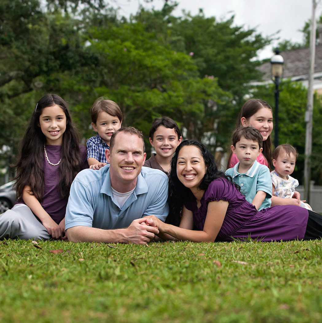 Tim and Franicia White and children at seville quarter in Pensacola, florida. Left to Right: Pelaiah, Daniel, Tim, Abraham, Franicia, Noah, Heistheway, and Shiloh. (Photography by David & Jess Photography www.david-jess.com ) © 2014 tim & franicia