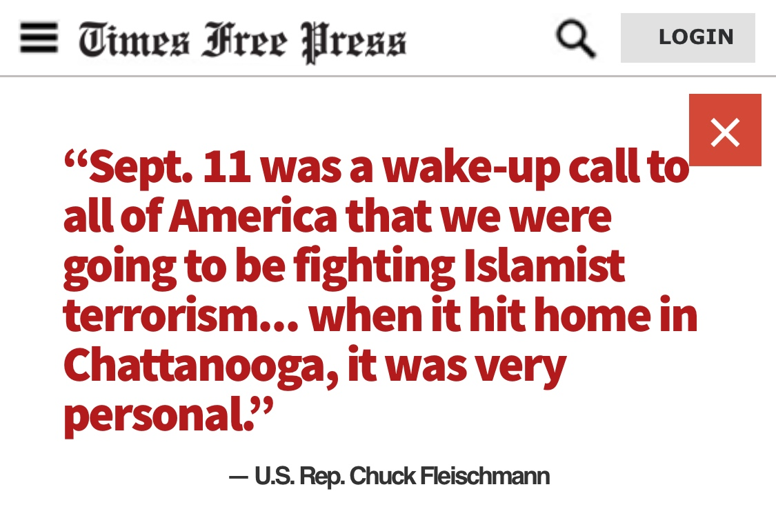 Times Free Press quote from U.S. Representative Chuck Fleischmann about Chattanooga terrorist attack on the reserve center and Navy Operational Support Center (NOSC) in Chattanooga, Tennessee