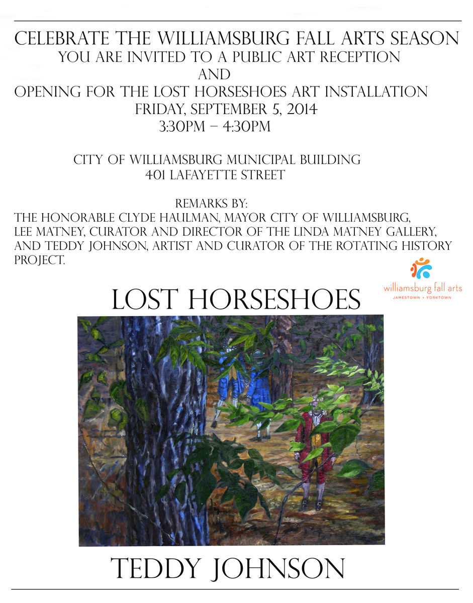 """Lost Horseshoes"" Exhibition runs through October 12 at the Municipal Government Building, 401 Lafayette St.  and then returns to Linda Matney Gallery for  the October 25  presentation by Teddy Johnson and Heather Rounds.  * Note: works in this exhibition are for sale and only the unsold works will be returning to the gallery"