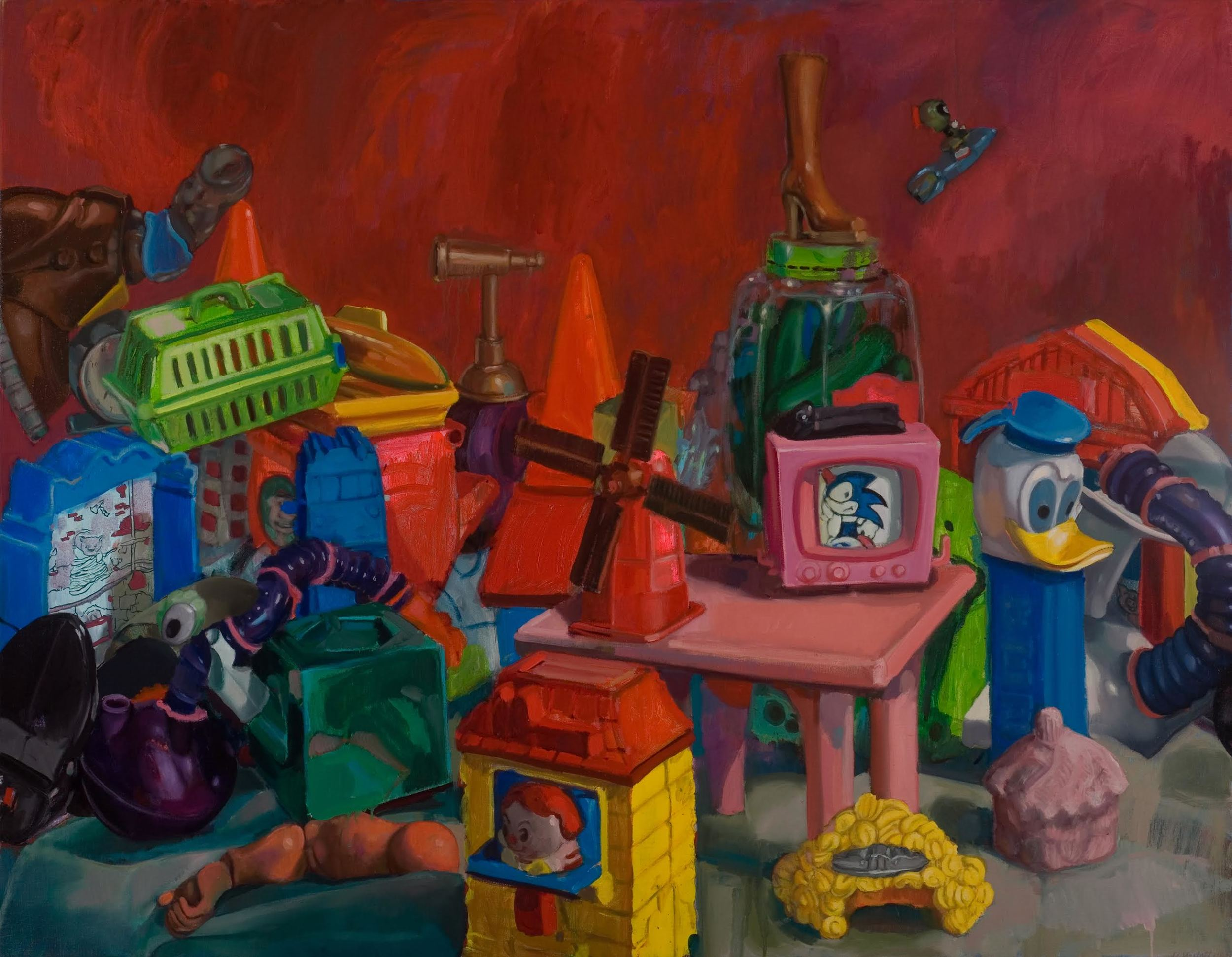 """The Last Toy Painting in Red   2011  acrylic and oil on linen 42"""" x 54, horizontal"""