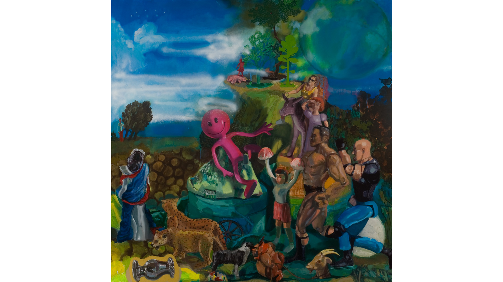 "Titian's Toys   2011 Acrylic, oil and spray paint on canvas 48"" x 48"""