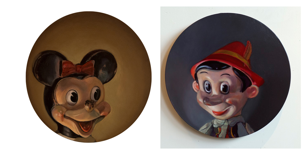 """Portrait of Miss Mouse                          Portrait of Flirty Pinocchio   Acrylic and Oil on Wood Panel, 16""""              Acrylic and Oil on Wood Panel, 16"""""""