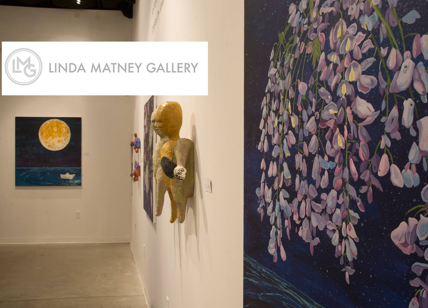 Install at Linda Matney Gallery. Works shown are Jeffrey Whittle's  Ripple Effects( far left), Crisha Yantis ' Progression II  (center) and Whittle's  Celestial Bouquet (right)