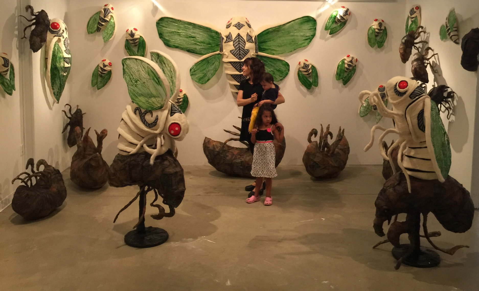 Visitors with Ryan Lytle's  Emergence  installation