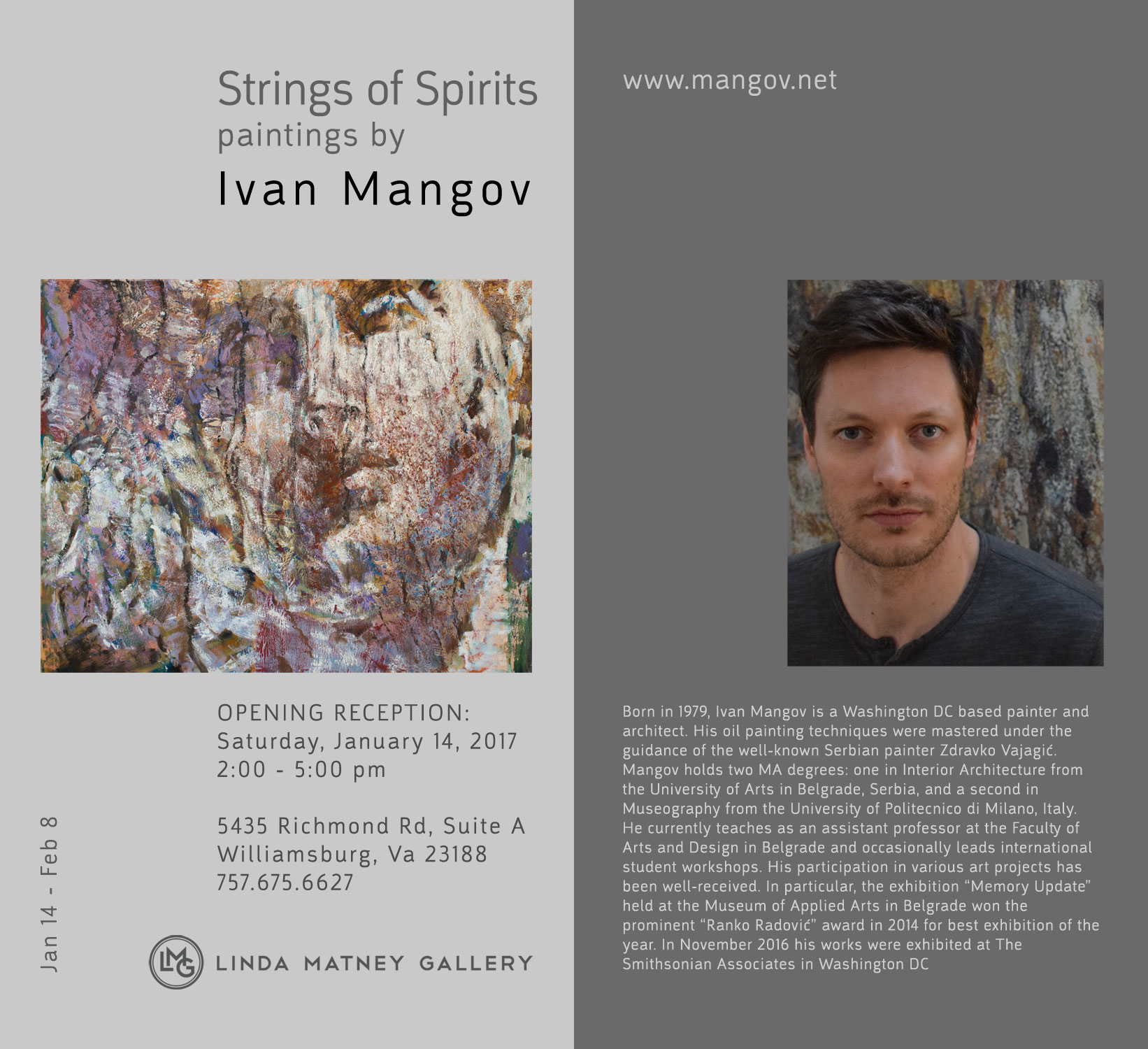 """Washington D.C. based painter and architect Ivan Mangov creates oil on canvas paintings using a complex technique of multilayered underpainting. After capturing with a camera all the stages of his work, he creates videos, that aim to provide a quick insight into a slow and gradual process of painting that takes many months.    Thanks to this uncommon technique he is able to create strata composed of rich textures with strong coloristic features. Depicted characters that emerge and disappear gradually from and into an abstract matter are going through changes that occur in nature: processes of creation, corrosion, erosion and dissolution. Through daring underpainting and radical transformations, distinctive portraits of time are created. They demonstrate the disappearance of ideals, the form that crumbles only to be restored to its original condition - the realm of shapelessness.      Bio      Born in 1979, Ivan Mangov is a Washington DC based painter and architect. His oil painting techniques were mastered under the guidance of the well-known Serbian painter Zdravko Vajagić. Mangov holds two MA degrees: one in Interior Architecture from the University of Arts in Belgrade, Serbia, and a second in Museography from the University of Politecnico di Milano, Italy.    He currently teaches as an assistant professor at the Faculty of Arts and Design in Belgrade and occasionally leads international student workshops. His participation in various art projects has been well-received. In particular, the exhibition """"Memory Update"""" held at the Museum of Applied Arts in Belgrade won the prominent """"Ranko Radović"""" award in 2014 for best exhibition of the year. In November 2016 his works were exhibited at The Smithsonian Associates in Washington D.C."""