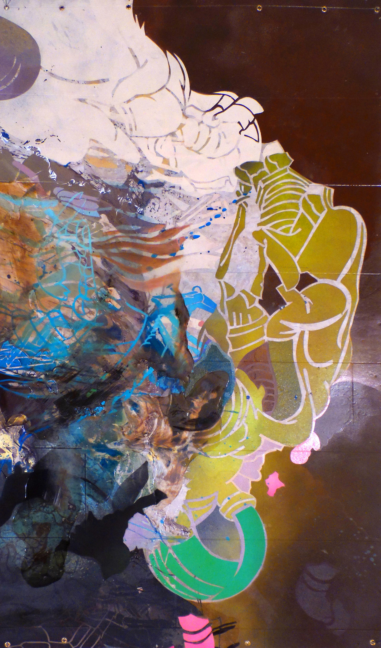 """Leigh Anne Chambers,  Simplicity by Way of Confusi on, enamel, acrylic, liquid rubber and spray paint on vinyl, 39""""x66"""