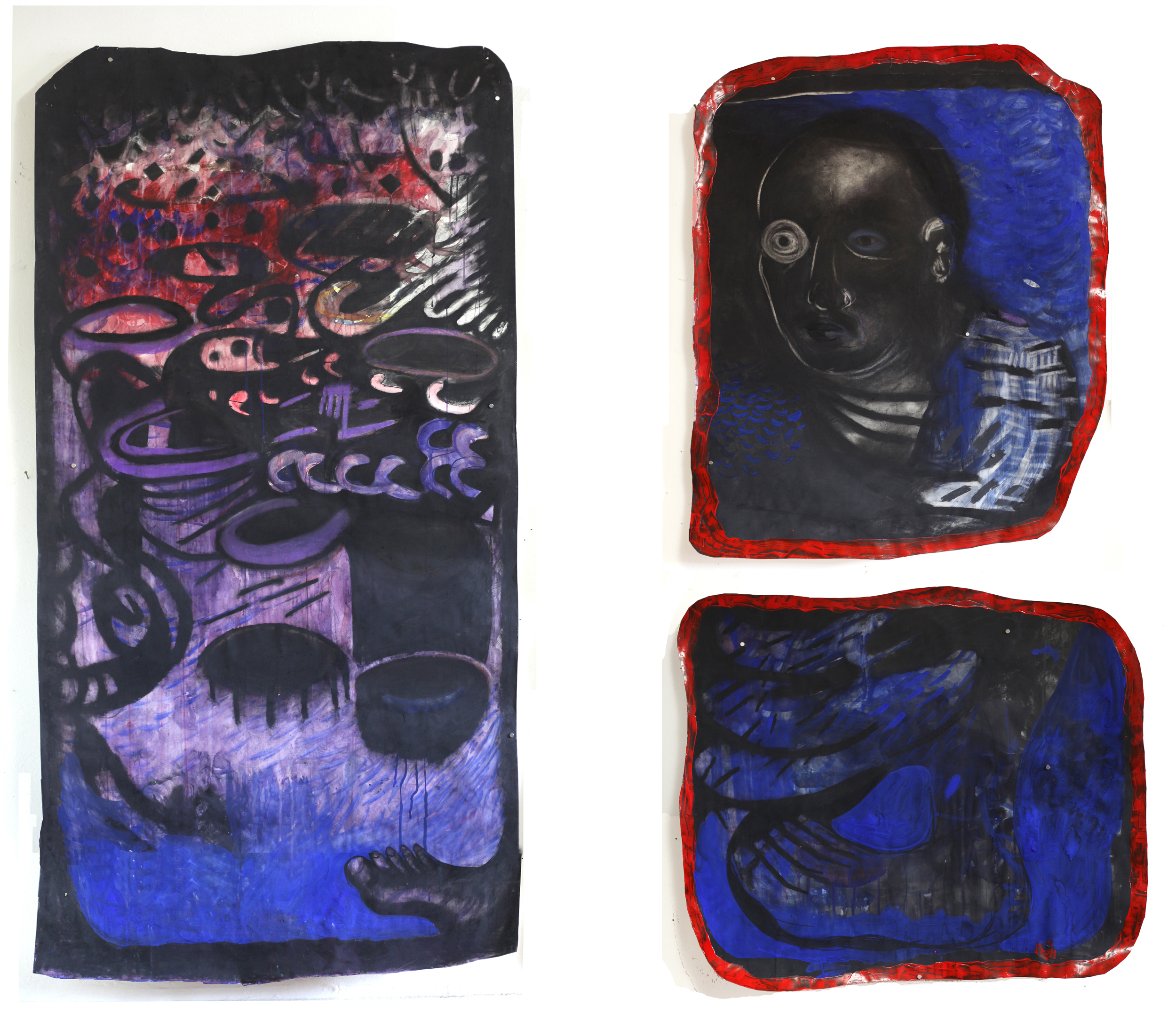 Jennifer Meridian  Scroll for Justice(Bomb and Foot ) mixed media on paper (left)  Portrait of Martin(Return to Mother)  mixed media on paper (top right) and  Martin's Foot Never Hesitates  mixed media on paper (bottom right)