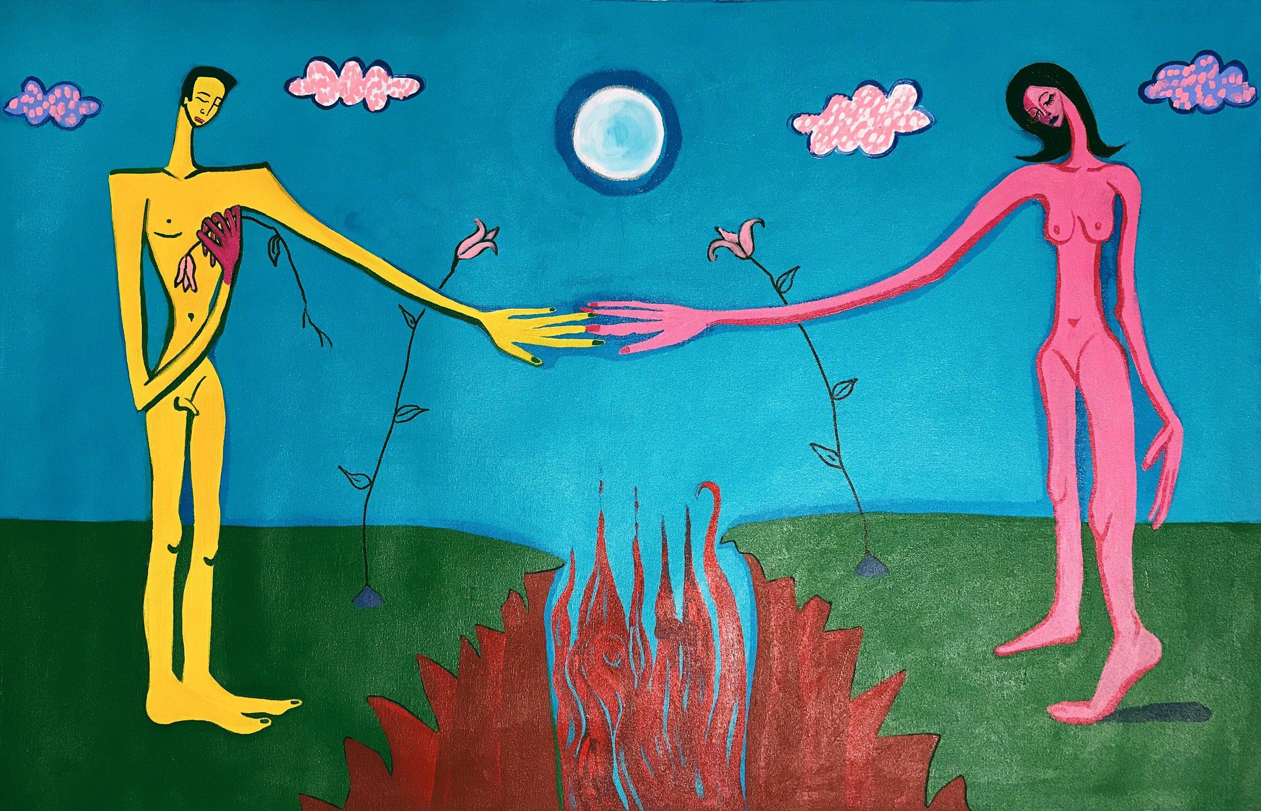 When the World Split in Half SOFIA ZU'BI Acrylic on canvas 22x 35x 1 in