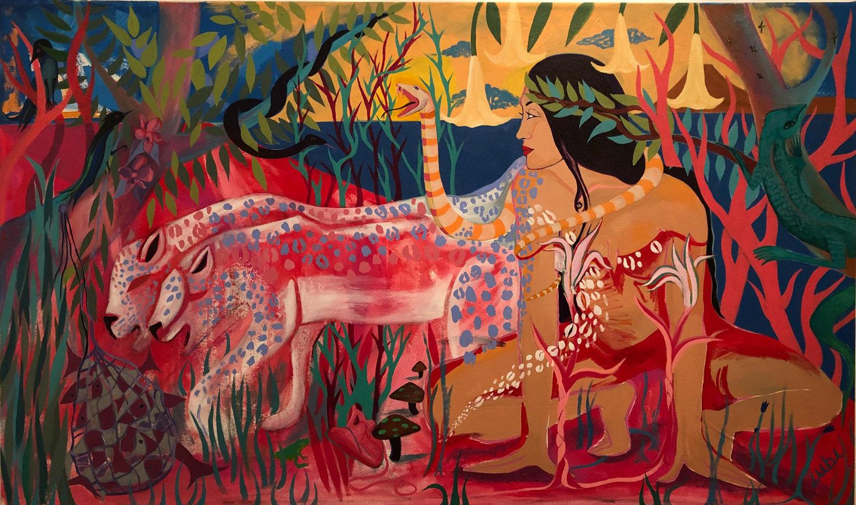 Mother Nature  SOFIA ZU'BI acrylic on canvas 45x75 in