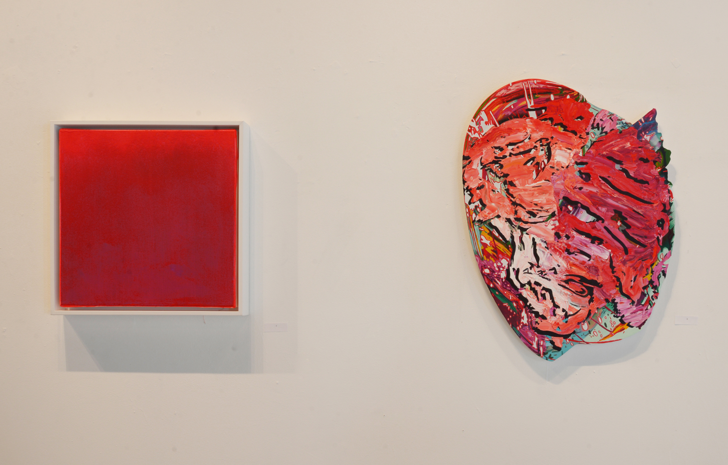 "J.M. Henry,   Remember Crimson  , acrylic on canvas, 20"" x 20"" , 2018 (left) and Lindsay McCulloch,   Free Falling  , oil on Dibond, 31"" x 24"" x 1"", 2018"