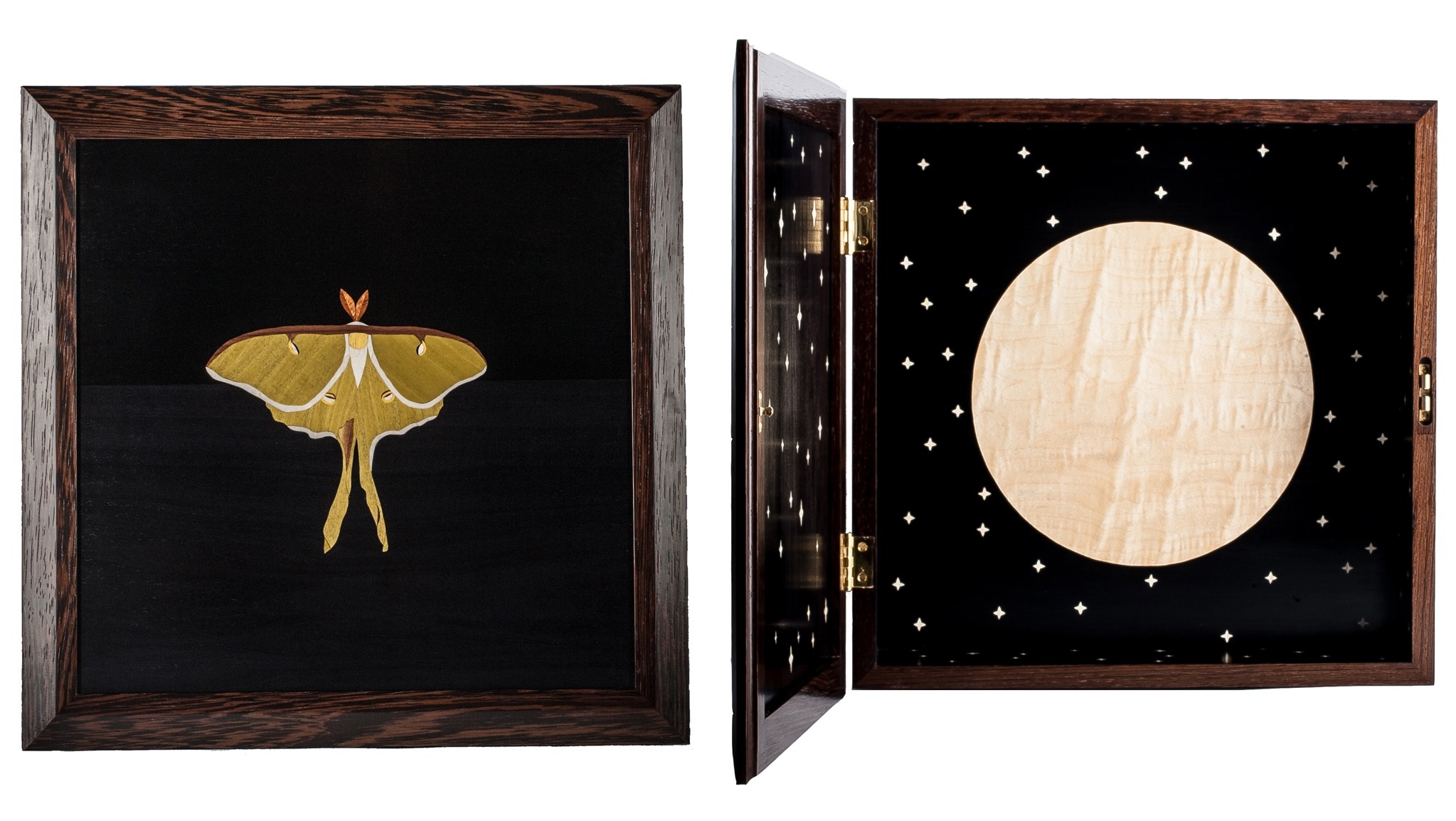 Luna Moth Cabinet , 2017 Wenge cabinet, dyed and natural veneer marquetry 22 × 22 × 6 in  View on Artsy