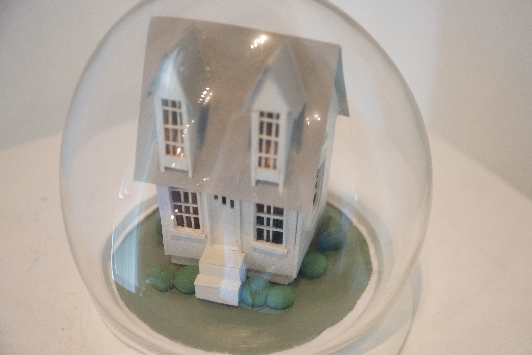 Set Home Dome , Basswood, enamel and hand blown glass, 10x10x10