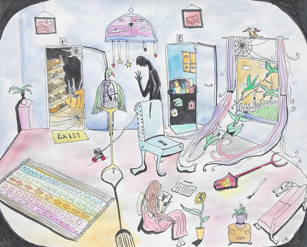 Linda+Matney+Gallery_Sofia+Zubi_Birdwords,+Collaboration+with+Miekal+And_12x16_2018.jpg