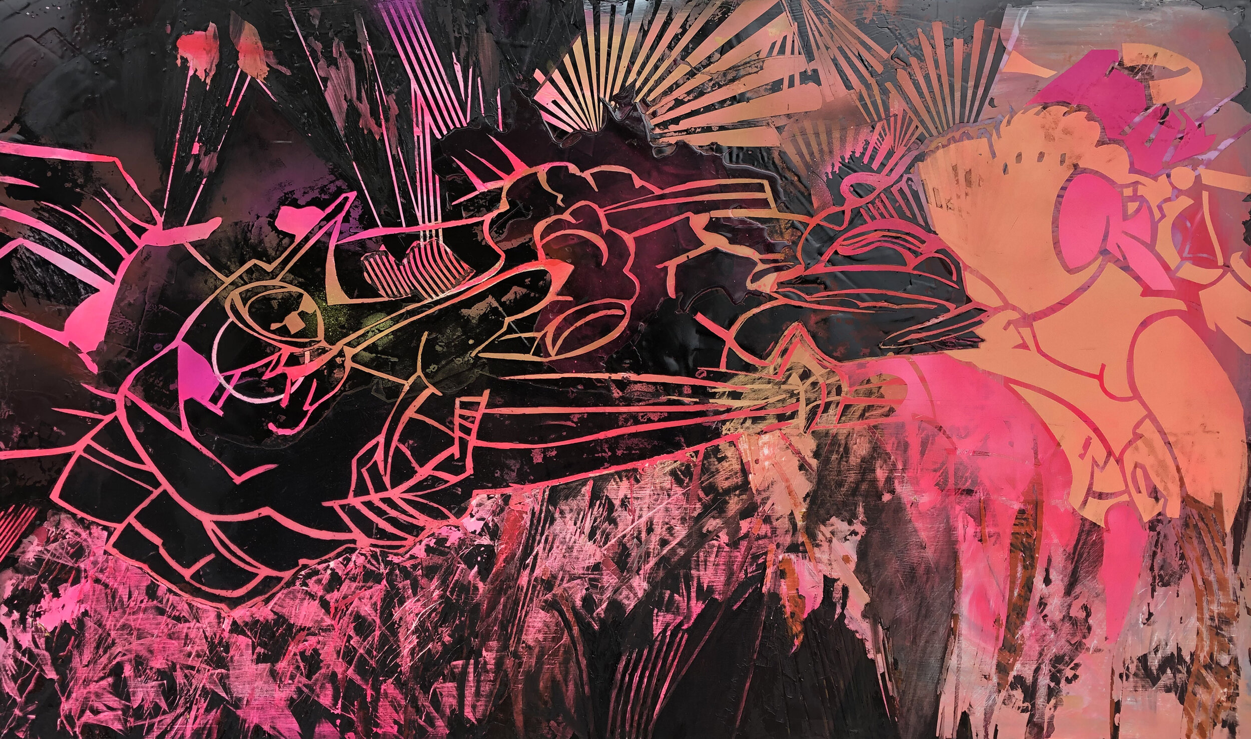 Leigh Anne Chambers   ,   My Neighbor is a Rooster , 2019, Liquid rubber, oil and spray paint on panel, 60 × 36 in,  View on Artsy