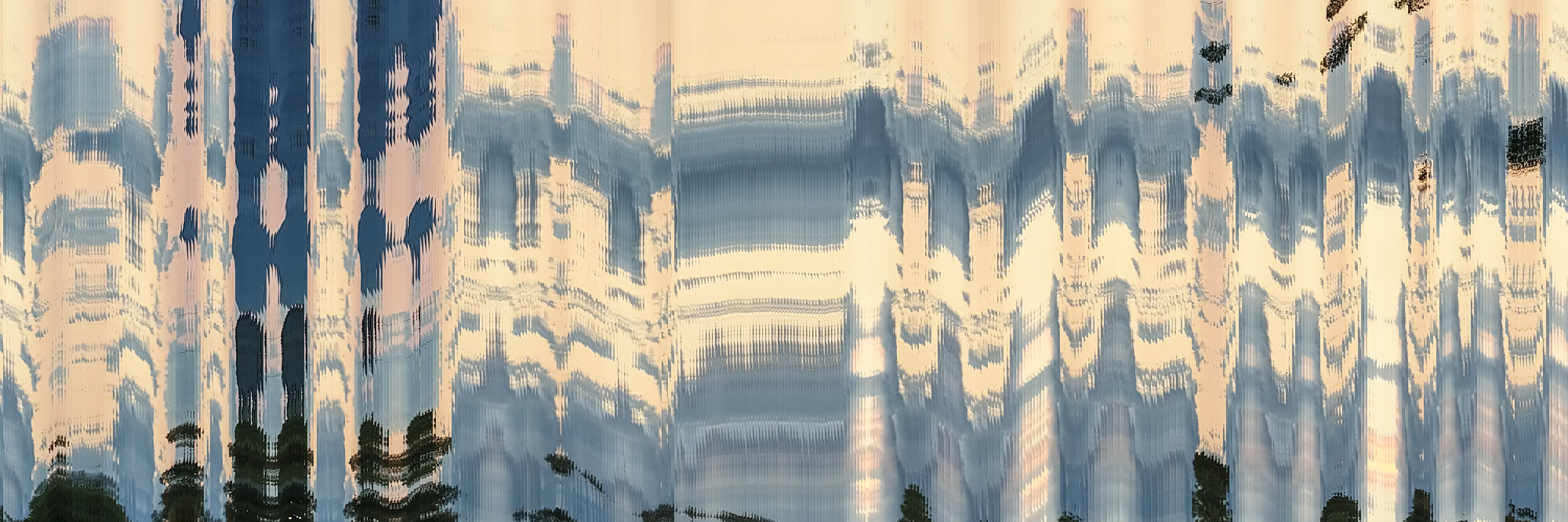 Alan Skees,  American Glitch: Neo Regionalism - Car - AL/VA - I-459 - 02 , 12h x 36w inches, 2019, Digital slit-scan ink jet print