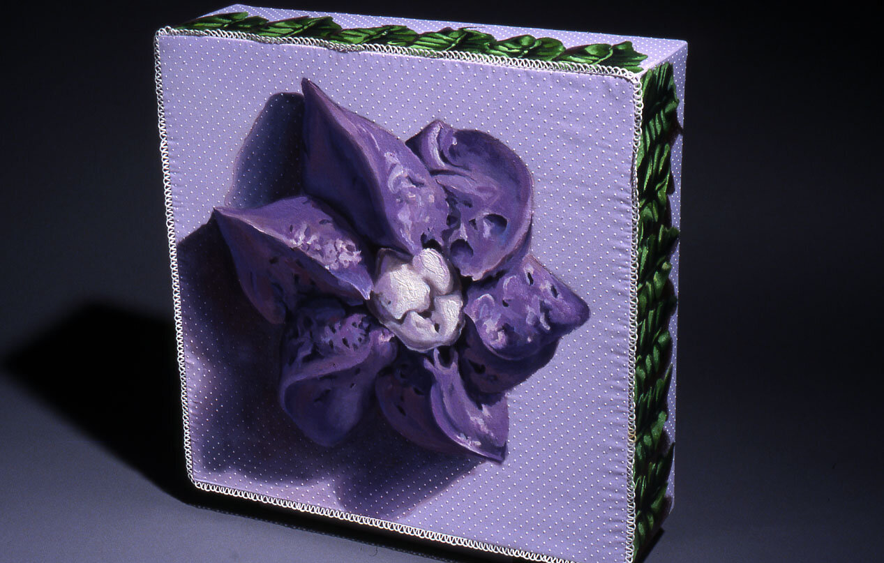 """Purple Drop Spin Flower,  Oil on fabric covered box, 20""""x20""""x6"""", 2003"""