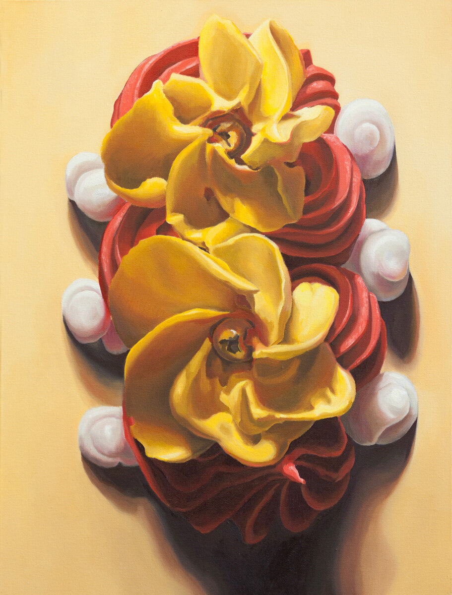 """Double Daisy,  oil on canvas, 24"""" x 18"""", 2014,  View on Artsy"""