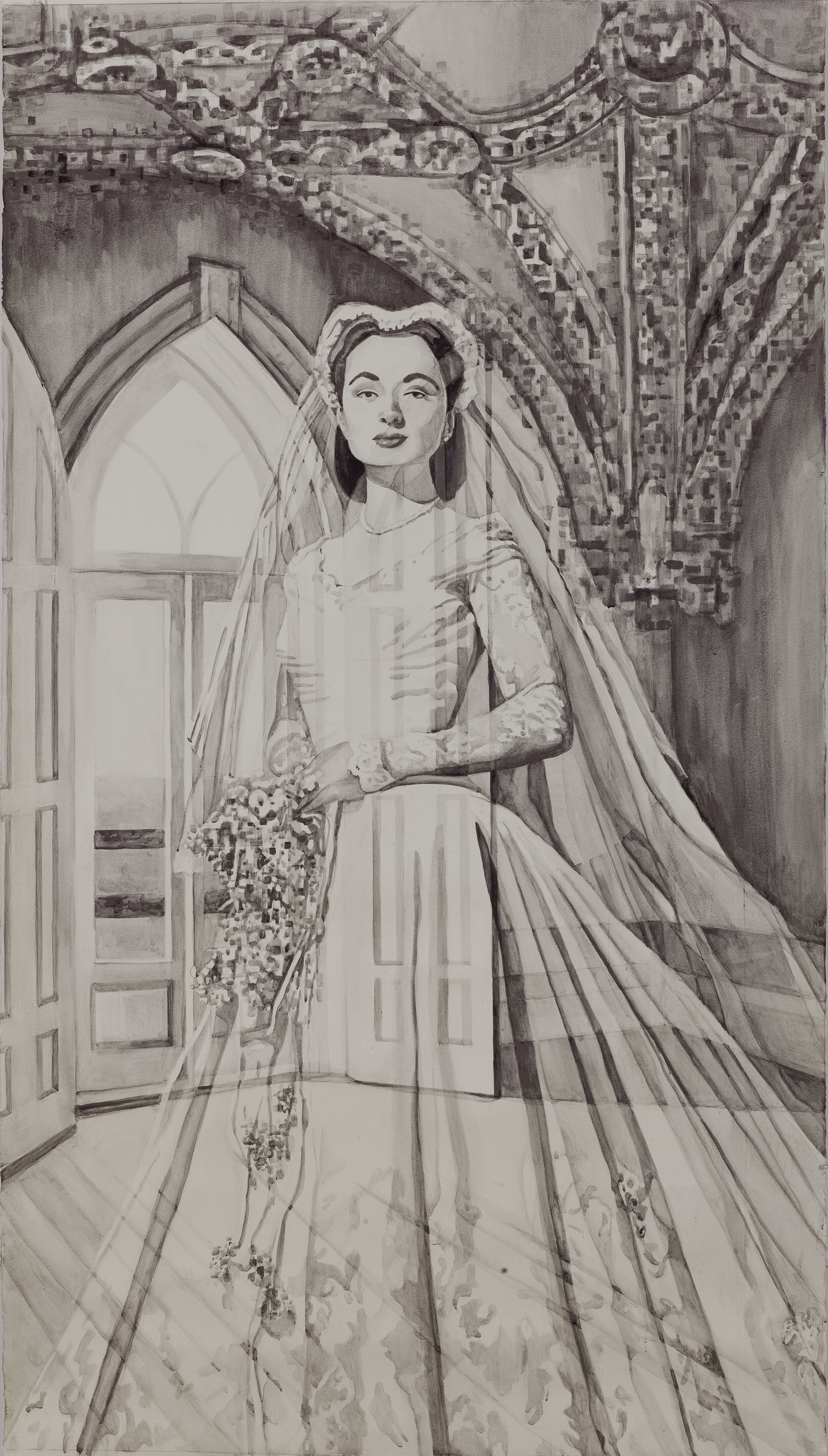 Fading Brides: Gothic Pixels, Wash drawing, 4x6, 2019