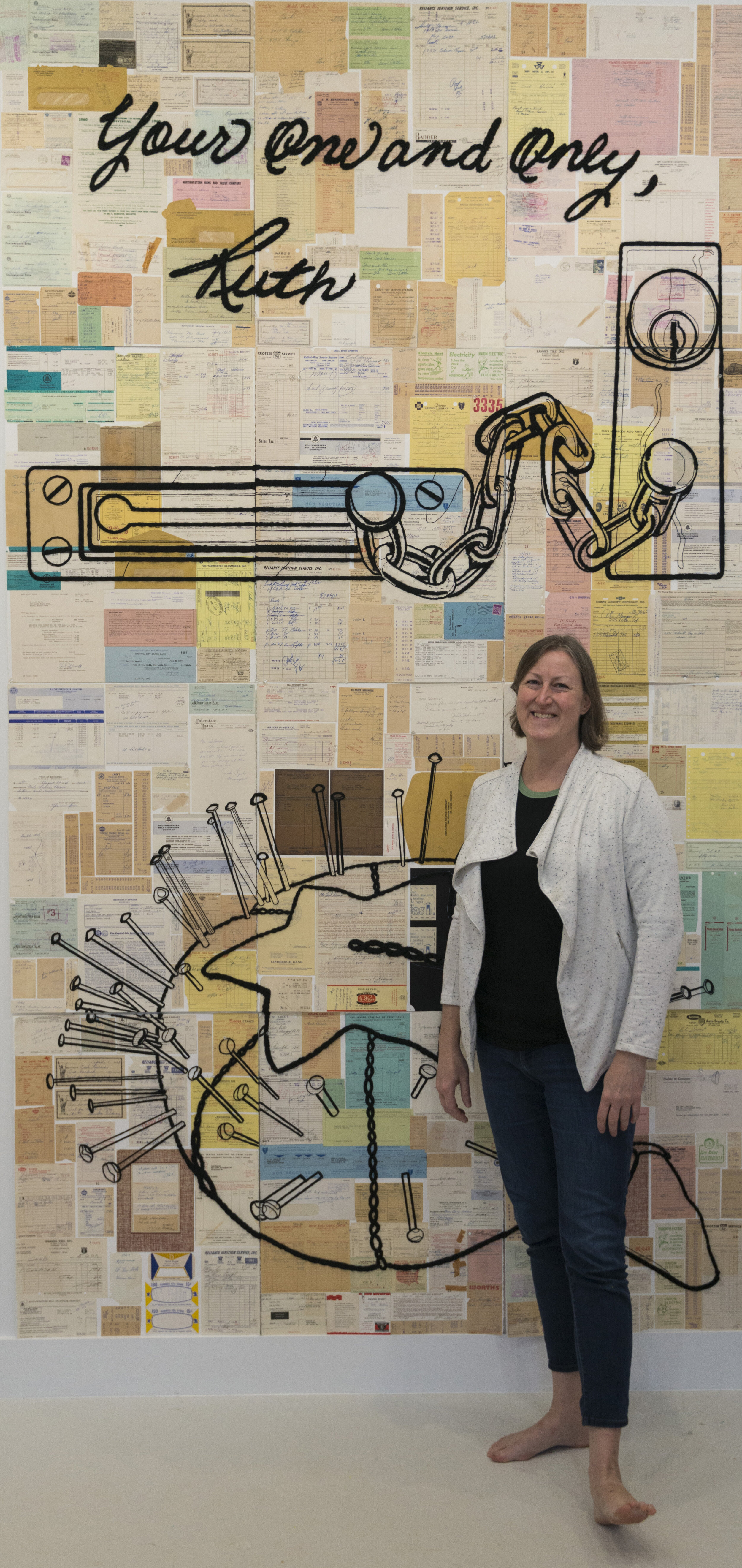 """Christi Harris with  Paper Marriage 1, (Dear Ruth),  Mixed media and fibers, 60"""" x 120"""", 2019."""