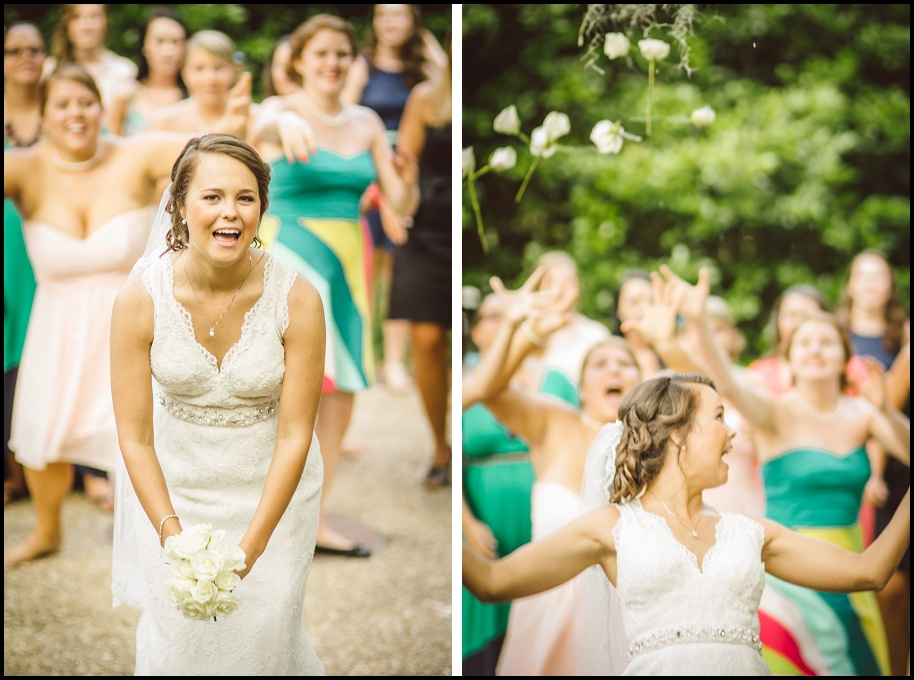 This was an epic moment!  Sarah decided to throw a bouquet of roses that would break apart when tossed!  This was such a great idea and made for gorgeous photos!