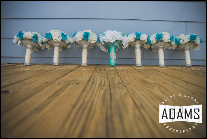 teal bridal bouquet teal flowers