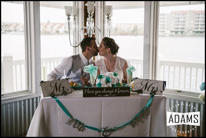 teal wedding head table