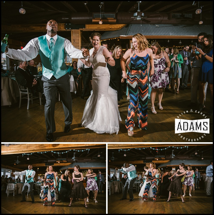 THERE'S ALWAYS A COUPLE OF GUESTS THAT JUST KNOW HOW TO GET THE PARTY STARTED AND CELEBRATE WITH THE BRIDE - MAKING OUR JOB A BLAST!