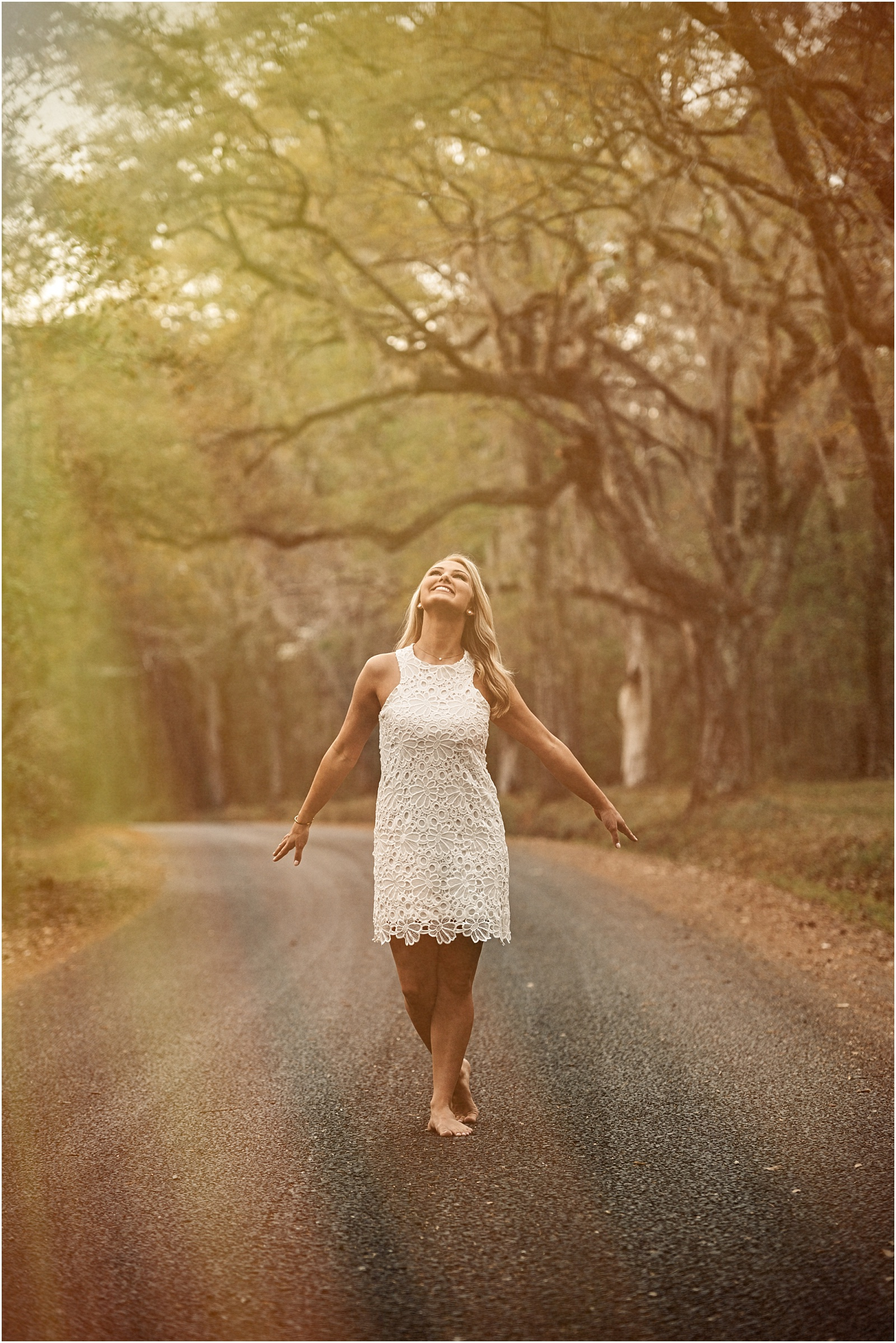 Tallahassee Senior Portrait Session White Lace Dress