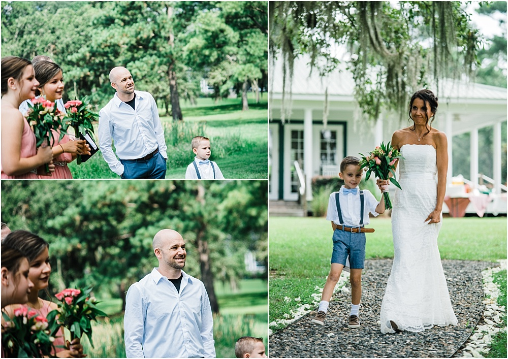 Although I usually miss the Bride walking down the aisle (because my job is to capture the groom's response & Allen captures the Bride), it's always worth it.  I loved watching the groom peek around friends and family to get a glimpse of his lovely bride!