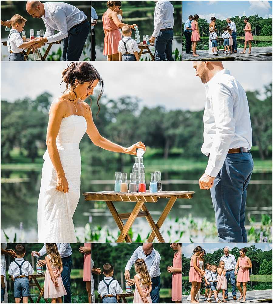 THIS was beautiful!  The Bride and Groom choose to include their entire blended family in the sand ceremony.  Each child poured a little then the Bride and Groom topped it off.  It was so special