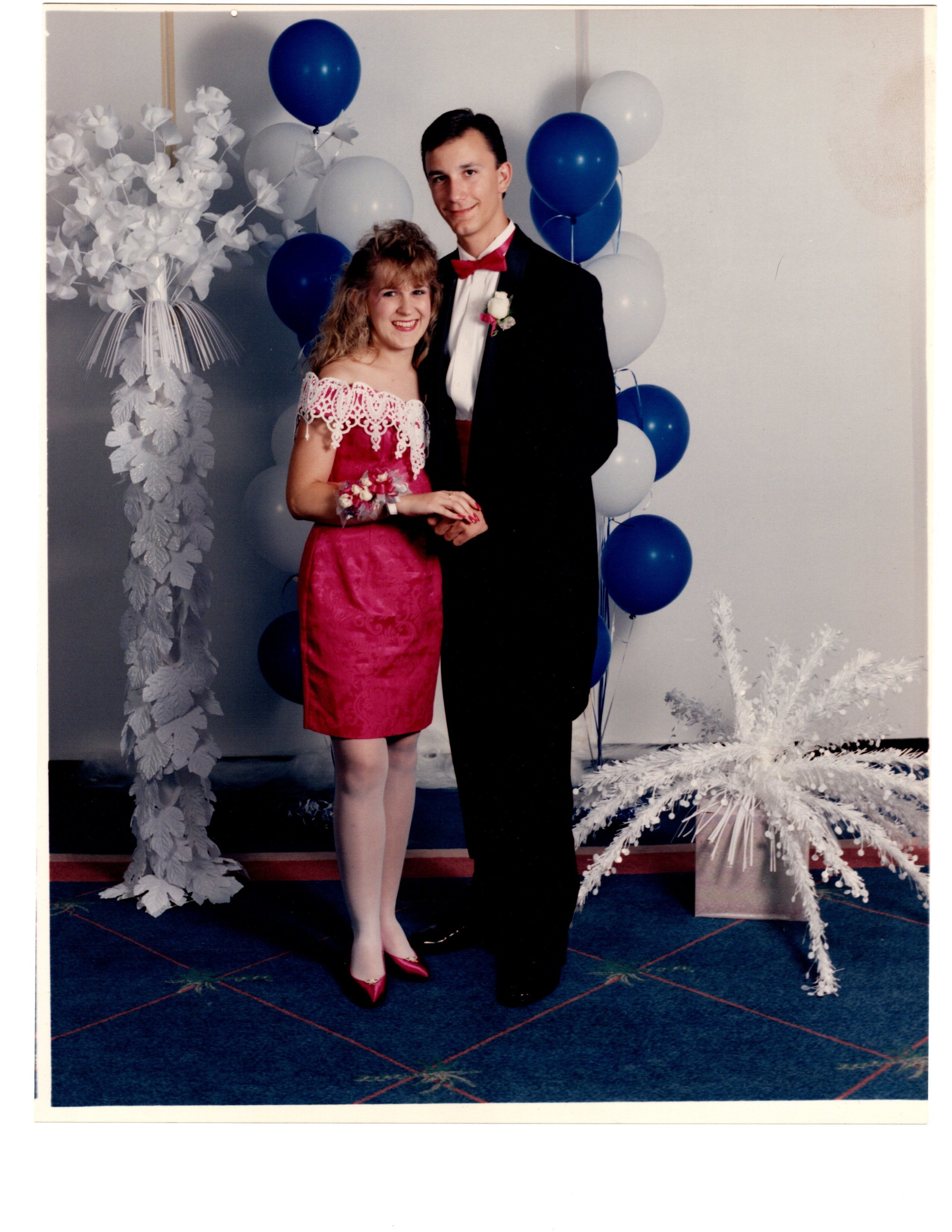 THIS IS US!! ALLEN'S JR/SR PROM 1993 (Do not knock the white pantyhose and big hair! They were totally a thing! Ha-ha. And look at my man! He looks good! Couldn't find a photo of us on our ski trip but this a close second! We were sooo young but even then, generosity played a huge part in our relationship.