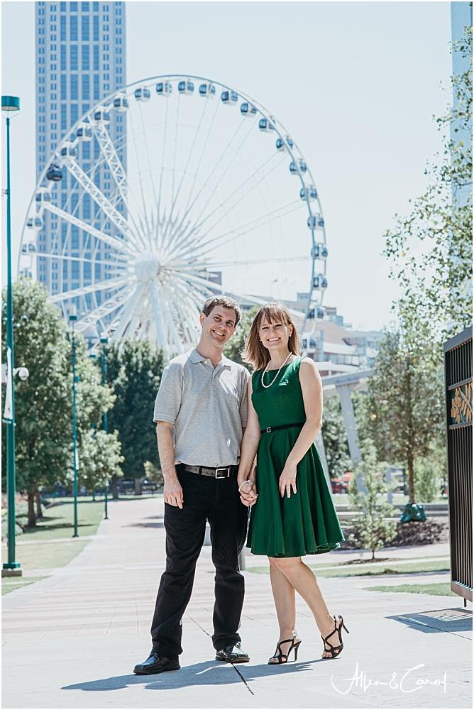 Ferris Wheel Engagement Photos Downtown Atlanta