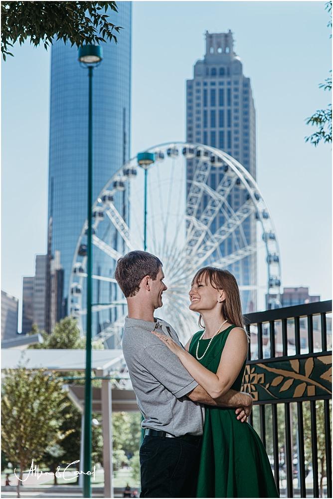 Engagement Photos at Ferris Wheel Centennial Park