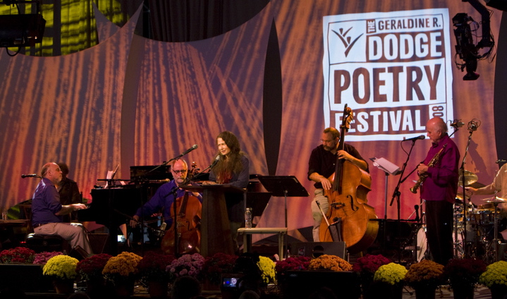 Performing with Poets is one of my favorite things to do with music! Here  l to r are: Paul Sullivan-piano, Eugene Friesen-cello, Jane Hirshfield-poet, myself on the bass and Paul Winter on soprano sax. Jamey Haddad on drums far right.
