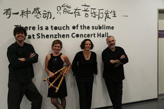 Rhonda Larson & Ventus China tour 2014. Shenzhen China. L to R: Chris Rosser, Rhonda Larson,Carolyn Koebel and yours truly.
