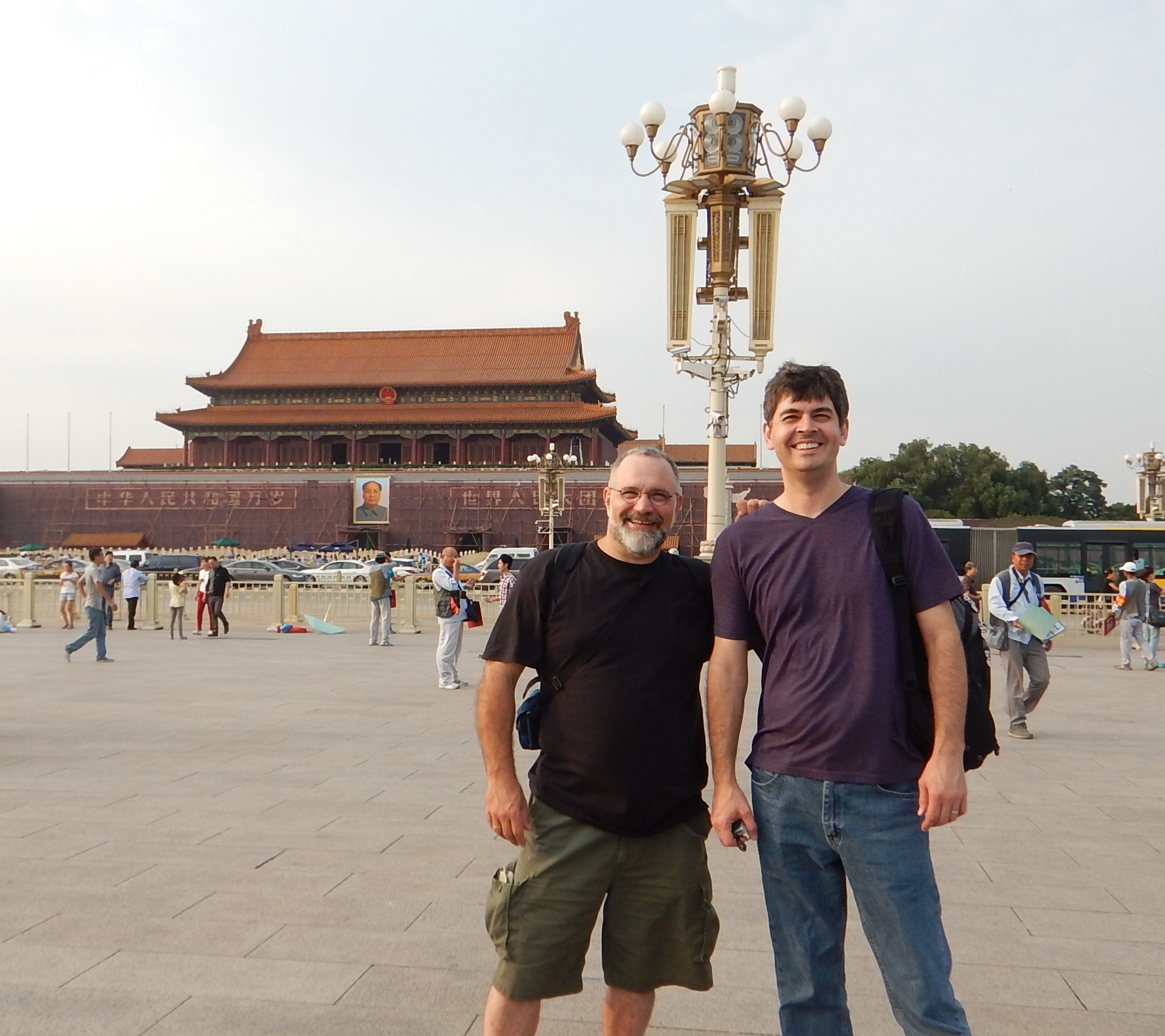 Amazing pianist & multi instrumentalist Chris Rosser and myself in  Tiananmen Square Beijing, China September 2014